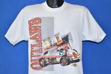 vtg 90s OUTLAWS GLITTER INDY SPRINT CAR DIRT TRACK RACING AMERICA'S #1 t-shirt L