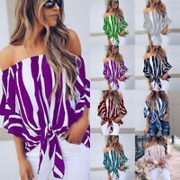 Womens Bardot Off Shoulder Tops Ladies Summer Casual Loose T Shirt Blouse