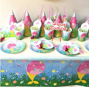 Narwhal Party tablecloth invitation plate cup balloon package set