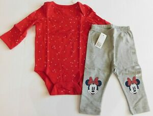 NWT Gap Baby Girl's 2 Pc Set Bodysuit/Minnie Mouse Leggings 0-3M New Free Ship