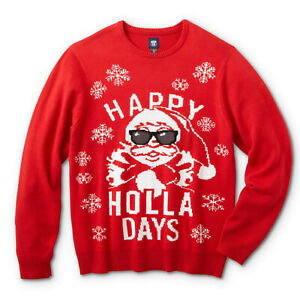 New Men's L XL Christmas Holiday Santa Claus Sweater Party Ugly Happy Holla Days