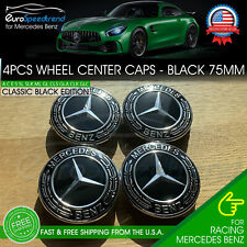 4 Mercedes-Benz Classic Black Wheel Center Hub Caps Emblem 75Mm Laurel Wreath (Fits: Mercedes-Benz)