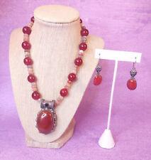 Carnelian Sterling Silver 925 Statement Necklace Earrings Vintage Jewelry Set