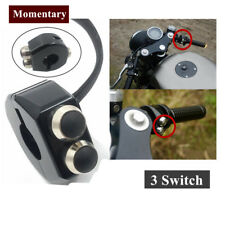 CNC Switch Motorcycle Handlebar Button Latch (Momentary)  3 Switches Cafe Race