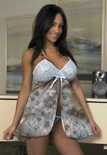 PLUS SIZE LINGERIE BLUE, BRONZE & GOLD GLITTER FLORAL BABY DOLL NIGHTIE 2X-20-22