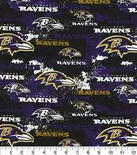 NFL BALTIMORE RAVENS - DISTRESSED 100% Cotton Fabric 1/4 yd, 9