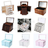 Large Wooden Jewellery Box Organizer Storage Display Ring Necklace Case