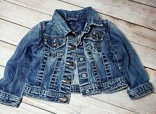 Baby Gap Toddler Jean Denim Jacket Size 3 Distressed Faded Pink Thread Gap 1969