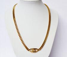 Christian Dior Designerkette Halskette Kette vergoldet Strasssteine Länge 88 cm