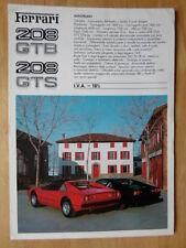 Ferrari 208 Gtb & Gts Orig 1981 Gran Formato de venta prospecto Folleto - # 207/81