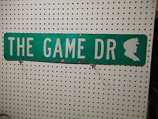 VINTAGE USED STREET SIGN THE GAME DR GREEN W WHITE LETTERS ALUMINUM 6 x 30