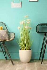Artificial Grass with White Flowers in Plastic Pot Indoor Outdoor Faux Plants