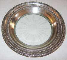 Vintage Whiting Sterling Silver Etched Glass Candy Dish Pierced Talisman Rose