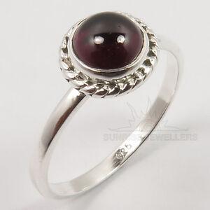 Genuine GARNET Gemstone 925 Sterling Silver Jewelry Girls Women Ring Choose Size