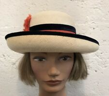 Vintage Genuine Womens Panama Hat Finely Woven w Grossgrain and Velvet