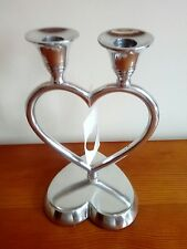 Chunky silver heart candle holder