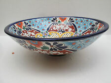 "17"" ROUND TALAVERA SINK vessel mexican bathroom handmade ceramic folk art"
