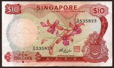 "Singapore ""First Issue, Orchids"" (1973) SCARCE $10 {SINGLE} VF/VF+ Banknote: P3d"