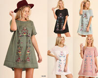 UMGEE Boho Dress Floral Embroidered Peasant Mini A-Line Casual Summer Gypsy