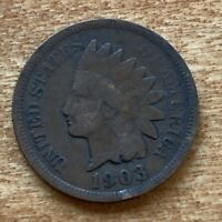 FREE SHIP! VG 1903 Indian Head Cent -118 Year Old Penny - Philadelphia Coin -L7