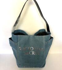 VICTORIA'S SECRET Denim Shoulder Tote Bag Pink Rose Gold Weekender shine NWT