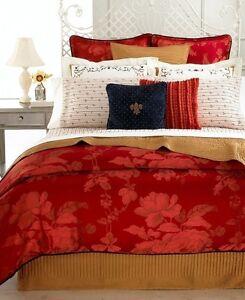 Court of Versailles NOBLESSE OBLIQUE Queen DUVET & SHAMS SET Red Gold $698 New