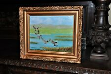 lovely Vintage  Duck landing Painting in Antique Frame