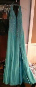 Riva Designs  Prom Formal Dress Teal Blue Gem Sequins Size 6