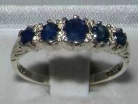 Solid 9ct White Gold Natural Sapphire Vintage Style Band Ring