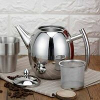 Durable Stainless Steel Teapot Kitchen Tea Kettle Metal Tea Pot with Infuser 1L