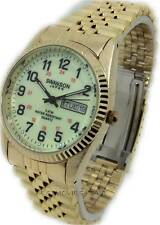 SWANSON JAPAN MEN;S WATCH GOLD TONE GLOW IN THE DARK DAY & DATE