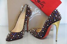 New Christian Louboutin Follies Cabo 120 Wine Suede Beaded Spike Pump Shoes 39.5