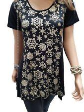 Plus Size 12-34 Ladies Womans Gold Black Snowflake Christmas Party Tunic Top