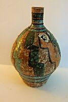 Mid Century Italian Art Pottery Lava Glaze Vase Hand Painted Bitossi Raymor