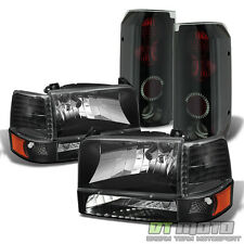 1992-1996 Ford F150 F250 Bronco Headlights+Bumper Corner+Black Smoke Tail Lamps