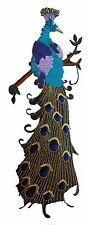 """#4537 9"""" Embroidery Iron On Peacock Applique Patch"""