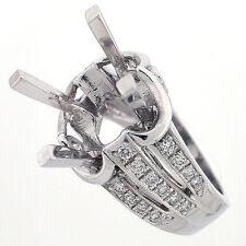 14K Vintage Style Semi Mount Diamond Cocktail Ring Setting 0.85 Carats - 12 mm