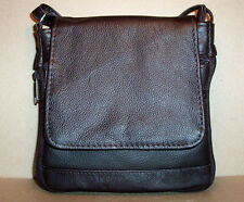 "Genuine Leather Handbag Shoulder Bag Purse Expandable 50"" 6"" x 6.5"" Small Brown"