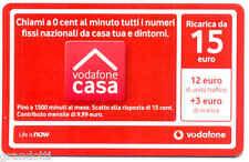 VODAFONE CASA CARD RICARICA 15 EURO SCADENZA  31 12  2012 USATA