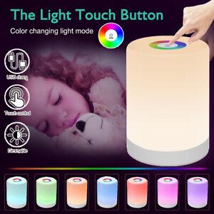 LED Nachttisch Lampe Touch-Sensor Dimmbar Kinder Nachtlicht Mit RGB Tischlampe