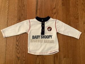 BABY SNOOPY Boys 18M Cotton Polyester LS 1/4 Button Construction Theme Top
