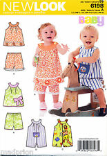 NEW LOOK SEWING PATTERN 6198 BABY BOY/GIRL SZ NB-L DRESS / TOP, SHORTS, ROMPERS