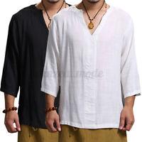 Hommes Chemise à manches 3/4 100% coton col en V Blouse ample T-shirt des fêtes