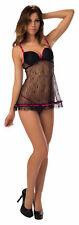Escante Women's Lace Baby Doll w/ G-String, Black/Fuchsia, Size Large