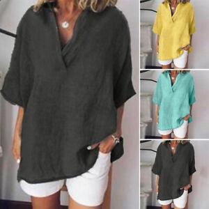 ZANZEA 8-24 Women Pullover Plus Size Short Sleeve V Neck Top Tee T Shirt Blouse
