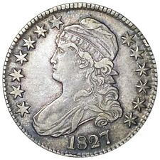 1827 Capped Bust Silver Half Dollar, Hard to Find 50c Philadelphia Mint Coin NR!