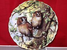 "Spode England Bone China Set of Owls Plate 9 1/4"" Beautiful Ruffled Edge Plate"