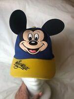 Walt Disney World Blue/Yellow Baseball Cap Hat Mickey Mouse Ears Youth Vintage
