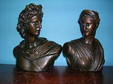 Rare Apollo Diana mythology bookends Armor Bronze clad, fine condition, 1920