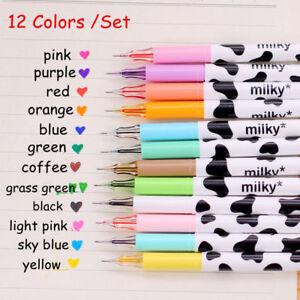 12Pcs Cute Milky Gel Pens Ballpoint Pen Set Study Stationery Student Supplies
